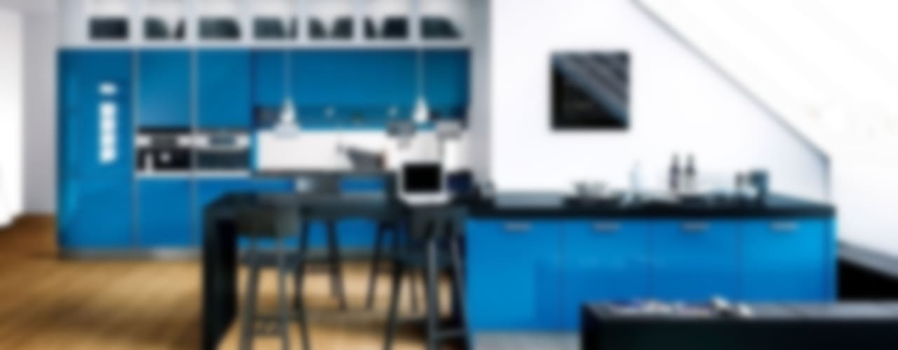 Rino Blue Gloss Modern Kitchen:  Kitchen by Belvoir Interiors Ltd