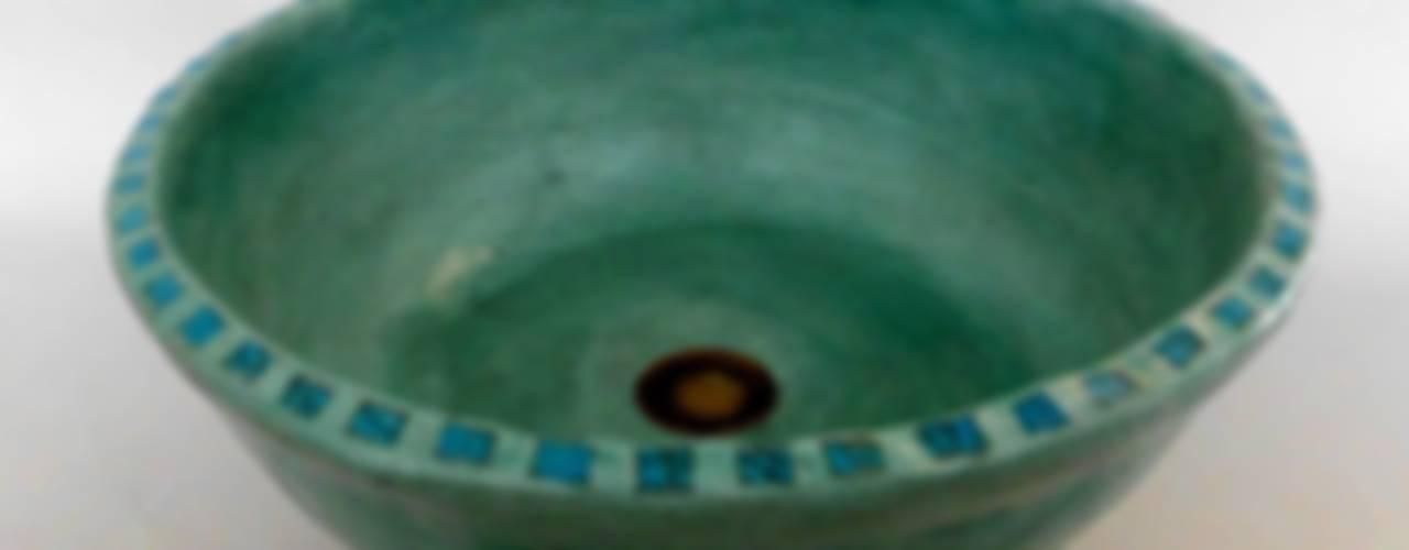Waschbecken ägyptisch-grün / Ø 41 cm / Höhe 15 cm:   von Atelier Schöning