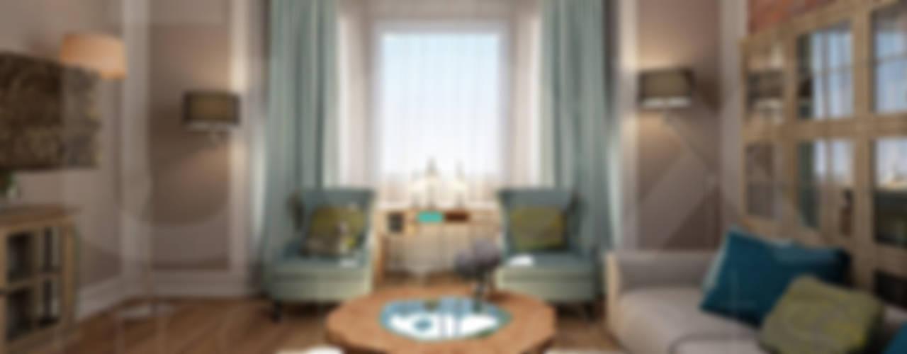 """Коттедж """"Голубое озеро"""" Гостиные в эклектичном стиле от ЙОХ architects Эклектичный"""