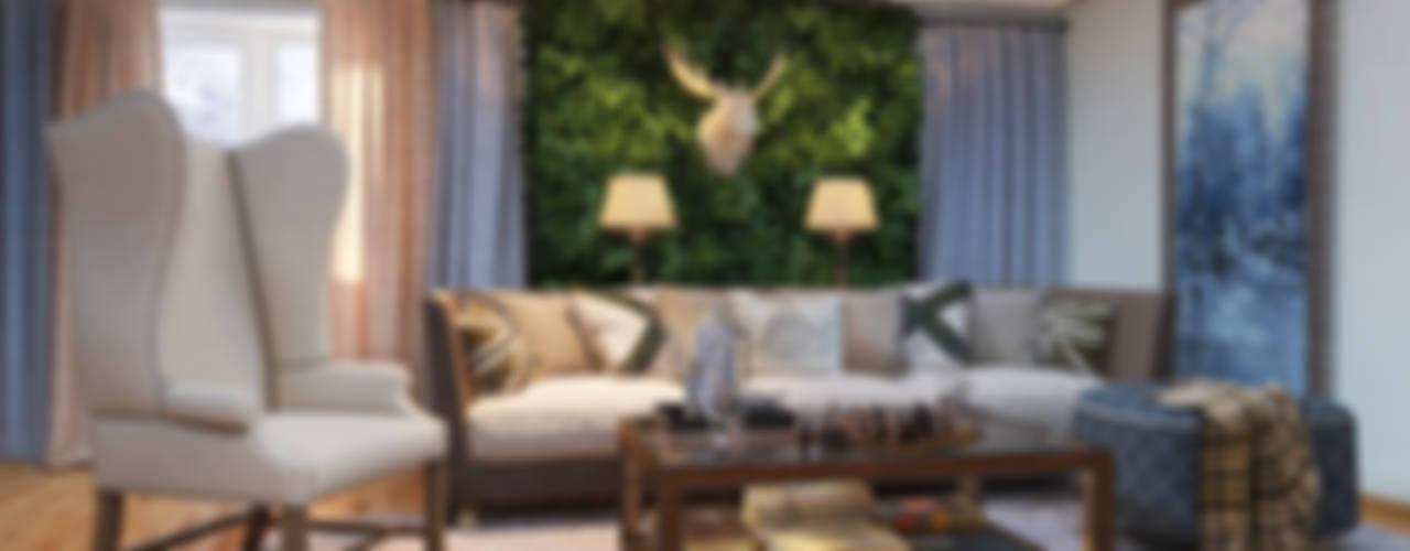 """Гостиная в доме. Благородный """"шале"""" с мужской душой Гостиная в классическом стиле от Katerina Butenko Классический"""