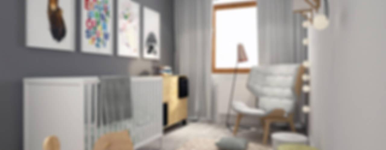 Biało Szary Czarny Skandynawski pokój dziecięcy od DOMagała Design Skandynawski