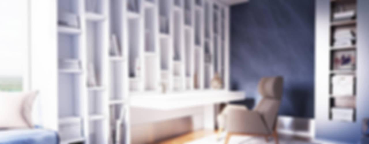 Minimalistyczne domowe biuro i gabinet od Samarina projects Minimalistyczny