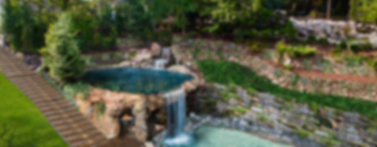Taras z basenem i grotą skalną Klasyczny ogród od Twoje Miejsce Klasyczny
