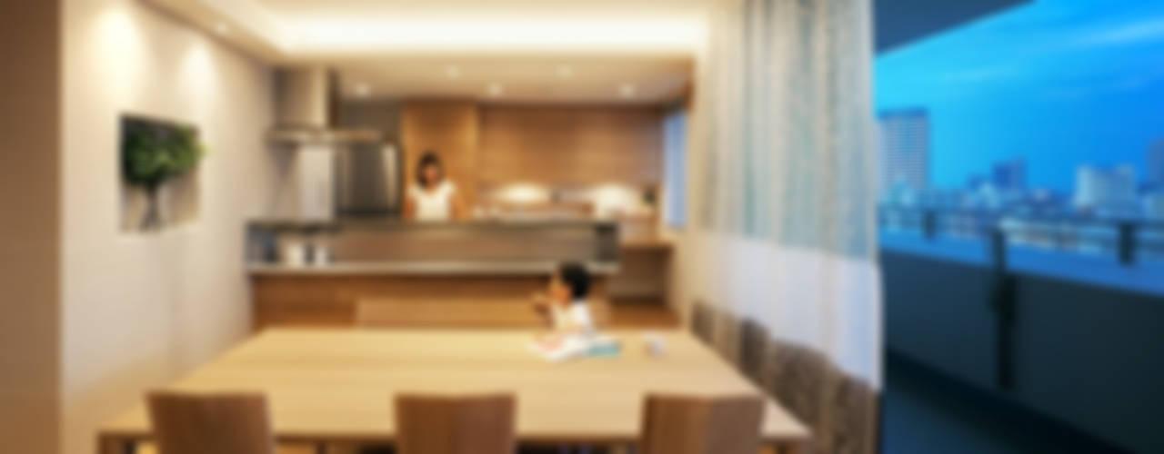 山本通の家 素材の質感にこだわった、ここちよい暮らし 北欧デザインの ダイニング の 株式会社seki.design 北欧