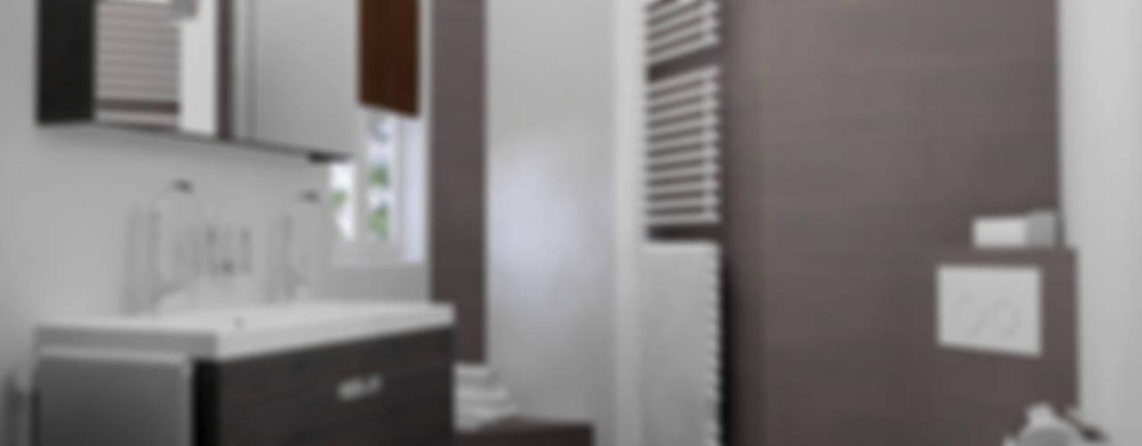 Kleine badkamer ontwerpen:  Badkamer door Sani-bouw, Modern