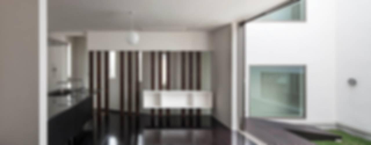 スロープの家(spairal court)愛犬家住宅: 前田敦計画工房が手掛けたダイニングです。,モダン