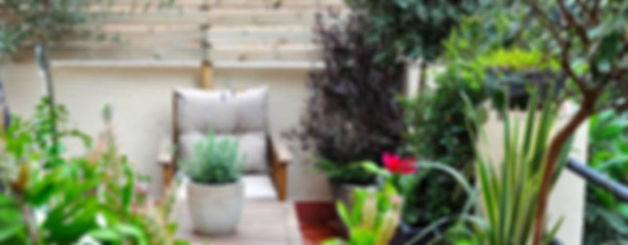 Terraza en el Guinardó. Balcones y terrazas de estilo ecléctico de ésverd - jardineria & paisatgisme Ecléctico