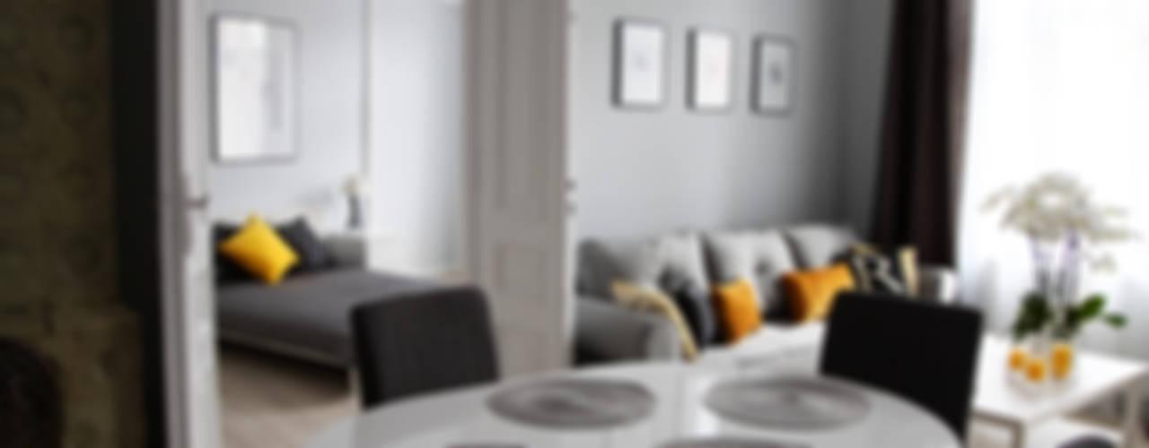 Mieszkanie w szarości : styl , w kategorii Jadalnia zaprojektowany przez Grey shade interiors
