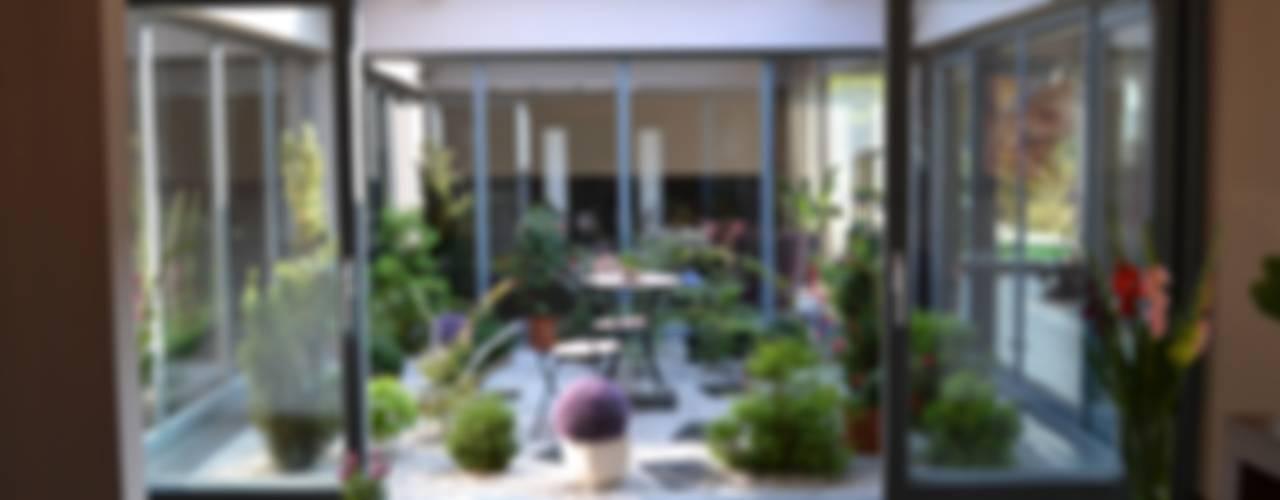 Dom z wewnętrznym PATIO Autorskie Studio Projektu QUBATURA Nowoczesny balkon, taras i weranda
