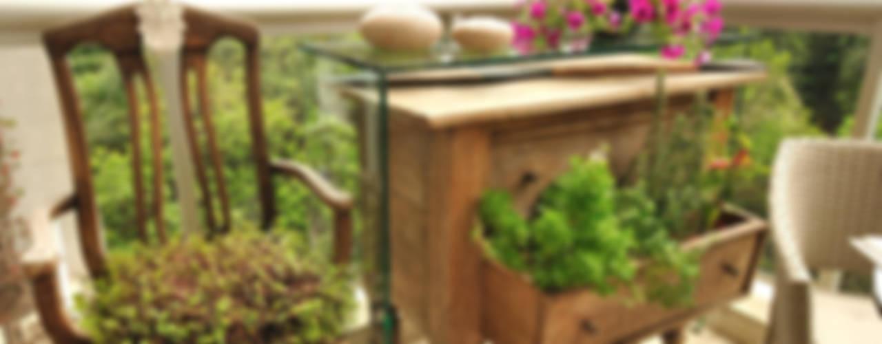 VARANDA DE APARTAMENTO - MORUMBI-SP. Varandas, alpendres e terraços ecléticos por Eduardo Luppi Paisagismo Ltda. Eclético