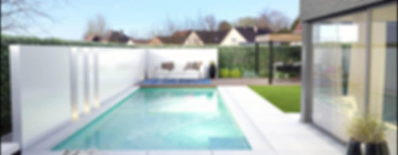 3D tuinontwerpen van loungetuinen: modern  door Tuinarchitectengroep ECO, Modern