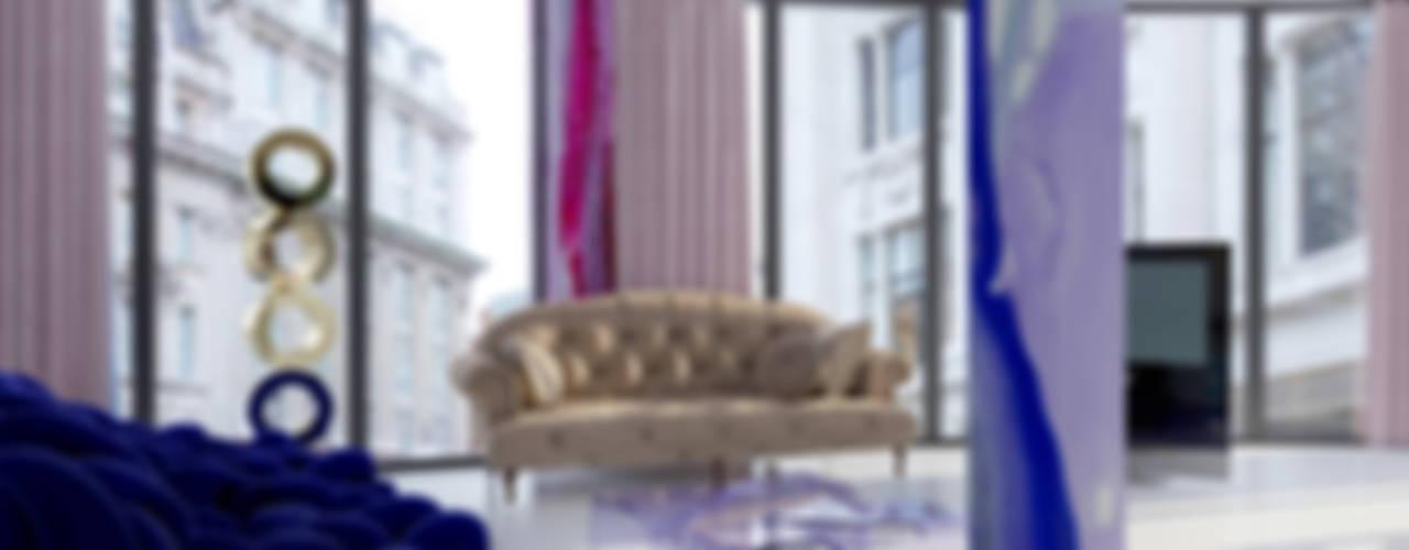 ЖИЗНЬ В ЦВЕТЕ. Интерьеры квартиры с акварельными обоями, Екатеринбург, 2015 г.: Гостиная в . Автор – VERONIKASTUDIO