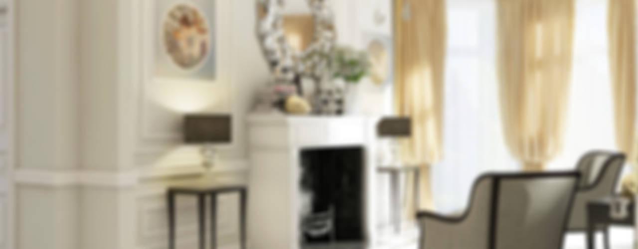 """Дизайн загородного дома """"Классический аквамарин"""": Гостиная в . Автор – Samarina projects"""