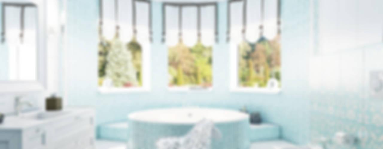 """Дизайн загородного дома """"Классический аквамарин"""": Ванные комнаты в . Автор – Samarina projects"""