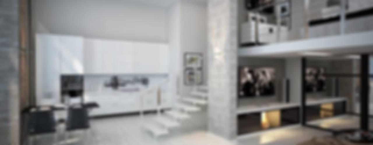 Двух уровненная квартира студия: Гостиная в . Автор – дизайн-бюро ARTTUNDRA, Минимализм