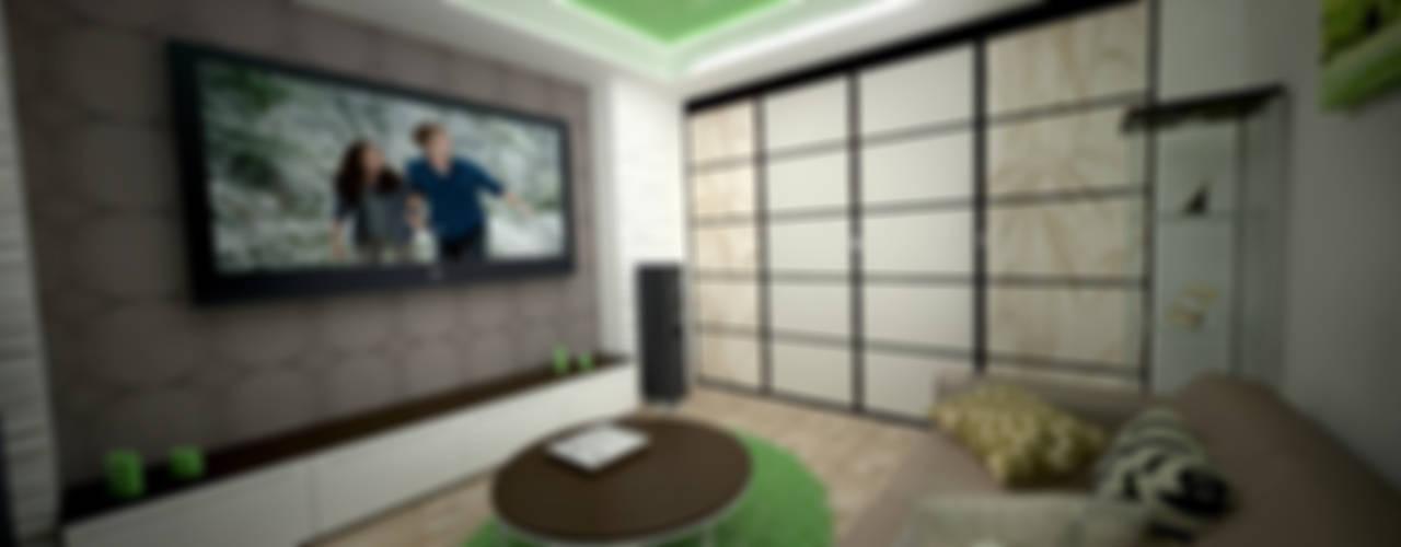 Интерьер 2-комнатной квартиры Новая Москва. Ватутинки Гостиная в азиатском стиле от дизайн-бюро ARTTUNDRA Азиатский