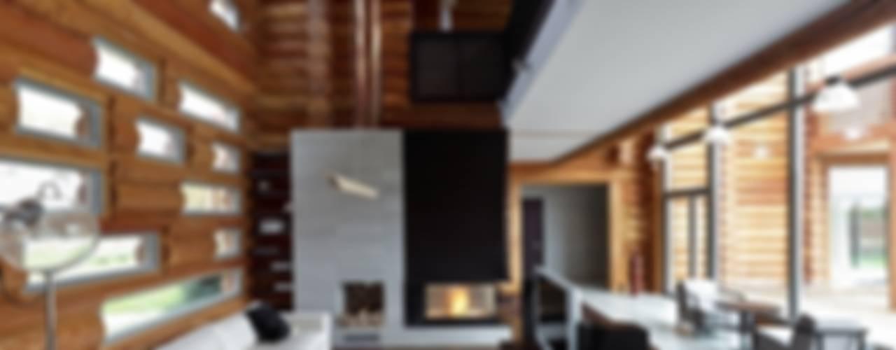Деревянный жилой дом Московская обл., Истринский район, поселок Белые росы LOFTING Гостиные в эклектичном стиле