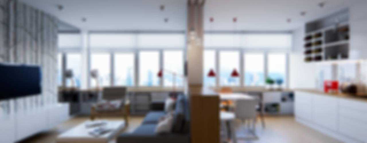 В белых тонах Гостиная в скандинавском стиле от Kristina Petraitis Design House Скандинавский