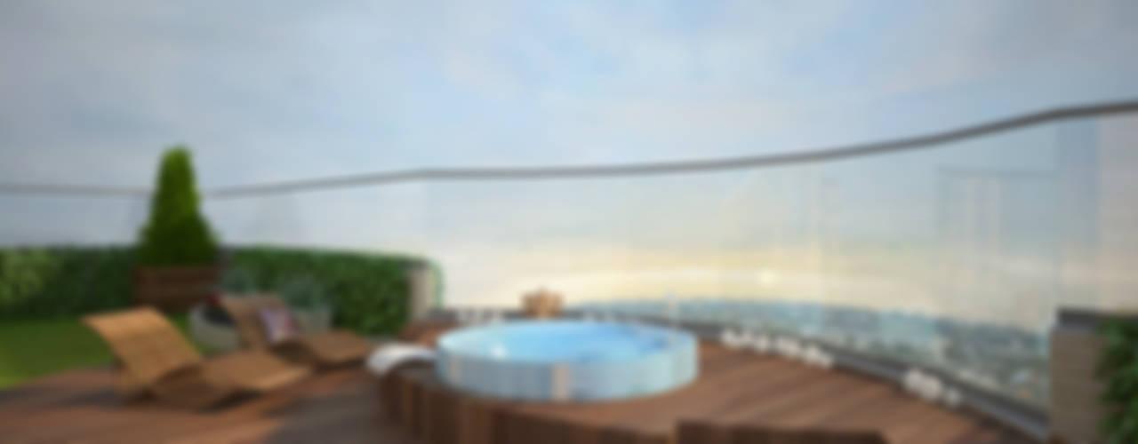 Двухуровневая квартира в Севастополе Балконы и веранды в эклектичном стиле от Дизайн - студия Пейковых Эклектичный