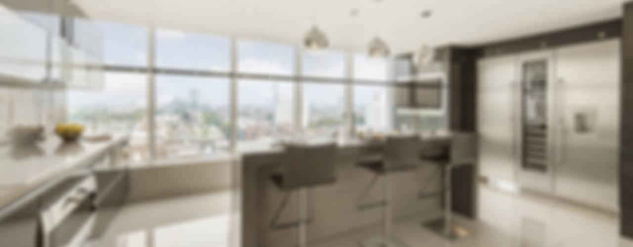 Luxury London Penthouse Apartment Porcel-Thin Modern kitchen