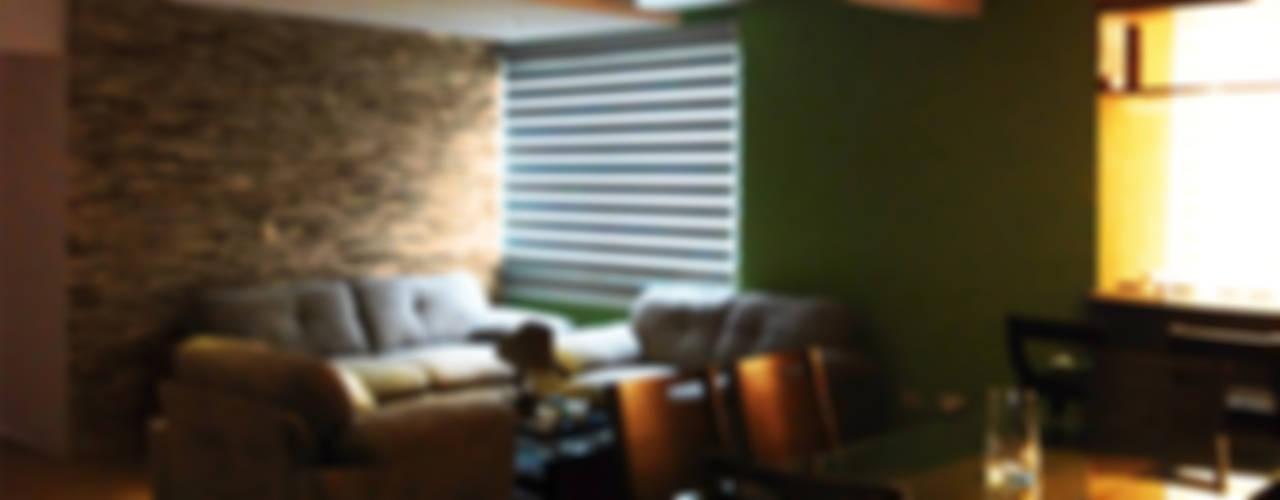 Diseño de departamentos pequeños México DF.: Salas de estilo  por Claire Concepto