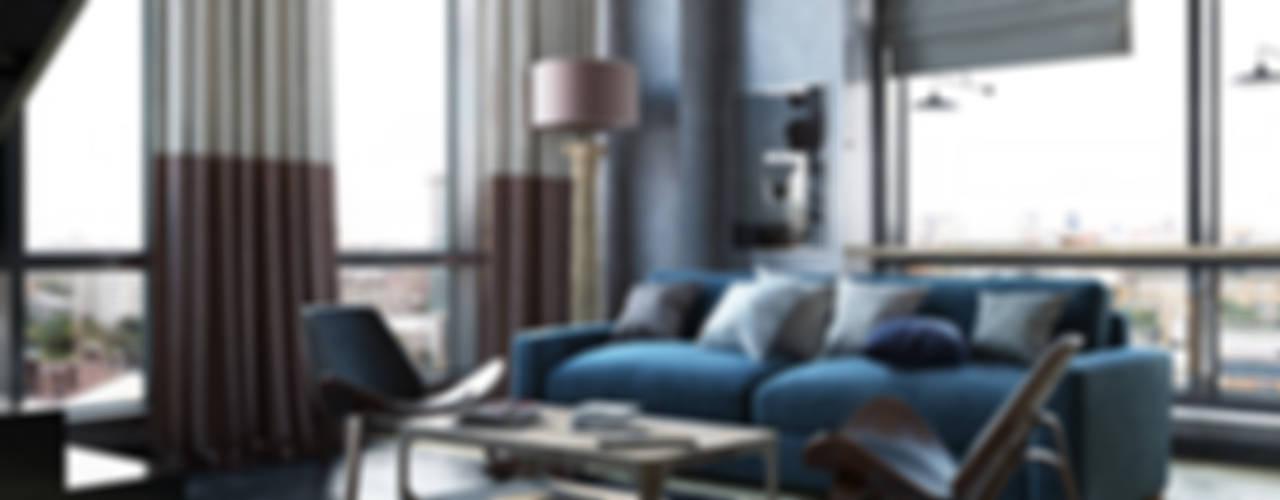 TriBeCa Лофт-Апартаменты в Москве: Гостиная в . Автор – Oh, Boy! Интерьеры с мужским характером