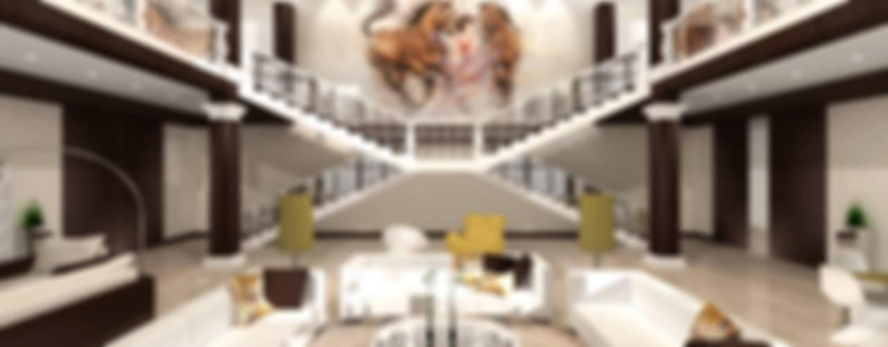 Загородный дом 1600 кв.м. Гостиные в эклектичном стиле от Студия Максима Рубцова. Эклектичный