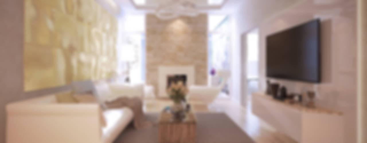 """Дизайн гостиной в современном стиле в ЖК """"Новый город"""" (Краснодар) Гостиная в стиле модерн от Студия интерьерного дизайна happy.design Модерн"""