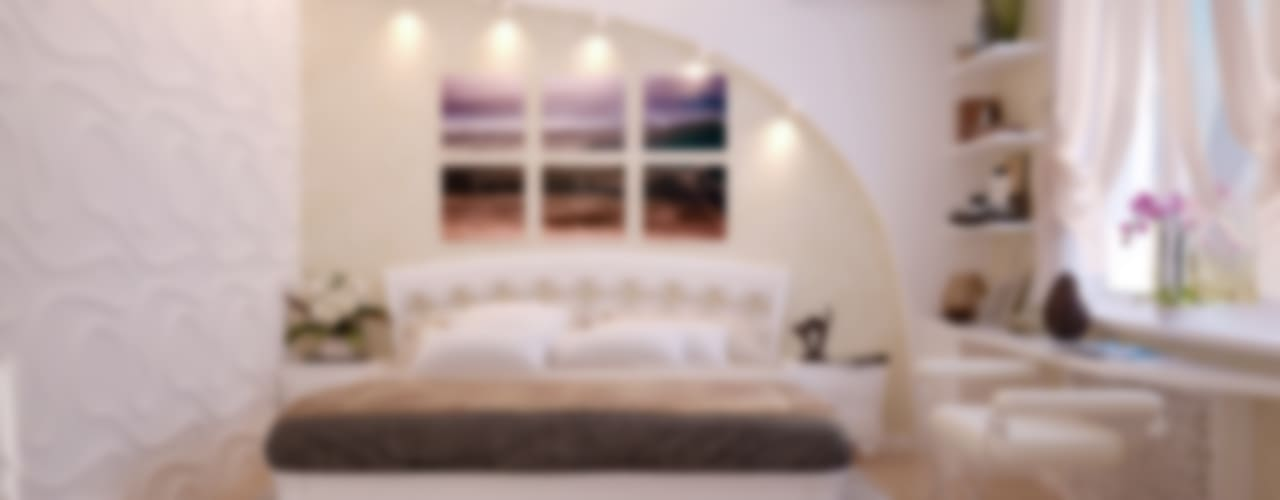 Дизайн спальни в современном стиле в частном доме по ул. Российской Спальня в стиле модерн от Студия интерьерного дизайна happy.design Модерн
