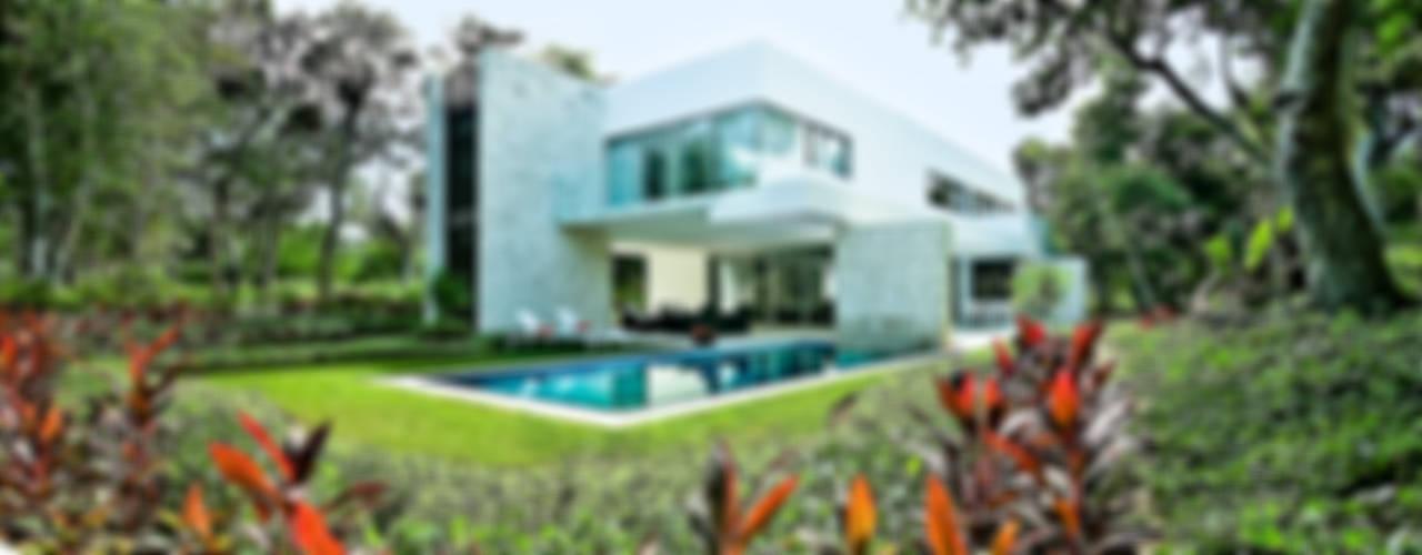 Casa entre Arboles Jardines modernos de Enrique Cabrera Arquitecto Moderno