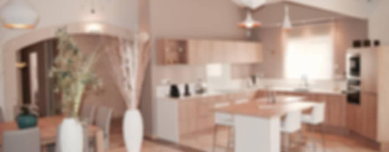 Rénovation complète d'un espace salon/cuisine/salle à manger dans un style très lumineux Cuisine moderne par COLOMBE MARCIANO Moderne