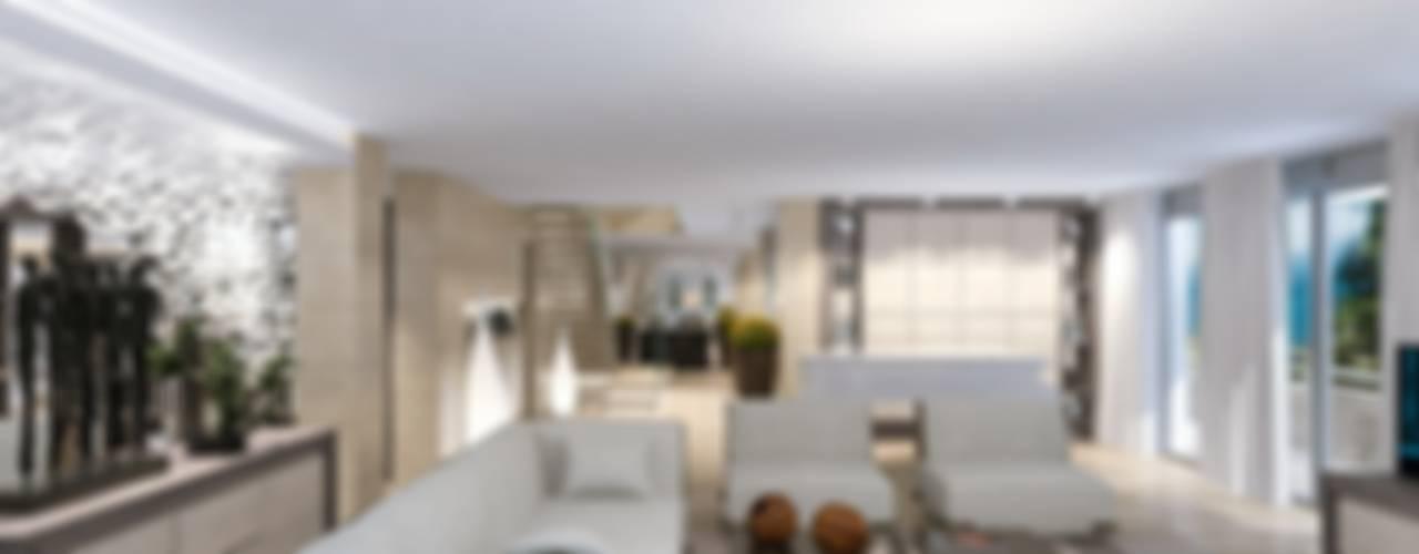 Интерьер двухуровневой квартиры, Швейцария, Локарно Гостиные в эклектичном стиле от LOFTING Эклектичный