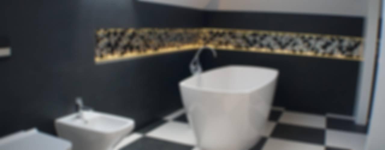 Czarno-biała łazienka Julia Domagała wnętrza Nowoczesna łazienka Czarny