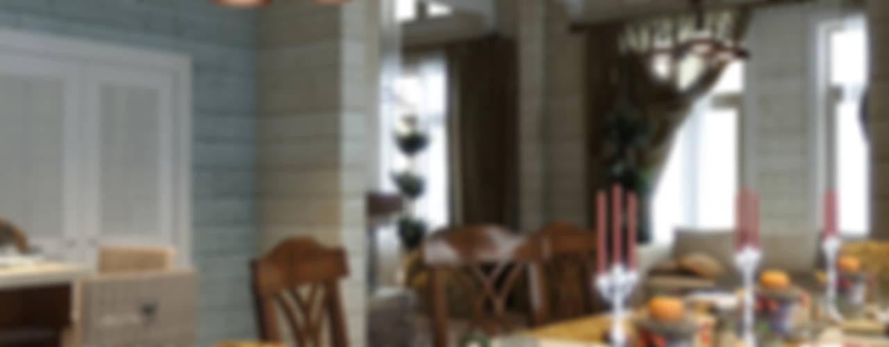 Дом из бруса 1 Столовая комната в стиле кантри от Студия Архитектуры и Дизайна Алисы Бароновой Кантри