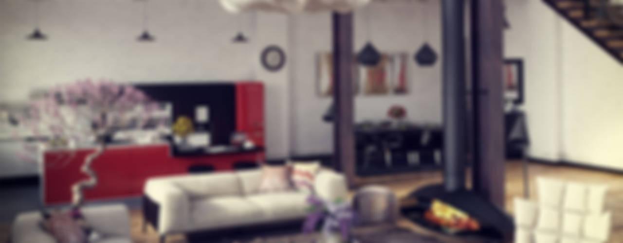 Ruang Keluarga Gaya Industrial Oleh RIP3D ARCHVIZ Industrial