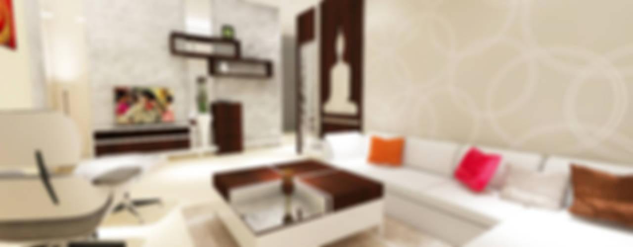 3 Bedroom Residential Project Alkapuri, Hyderabad.: Minimalistic Living Room  By Colourschemeinteriors