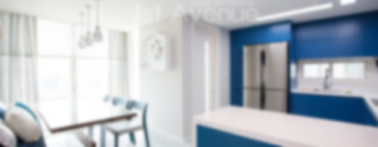 감각적인 패턴과 이국적인 감성으로 꾸며진 하남 탑층 아파트 인테리어 : 퍼스트애비뉴의  주방,모던