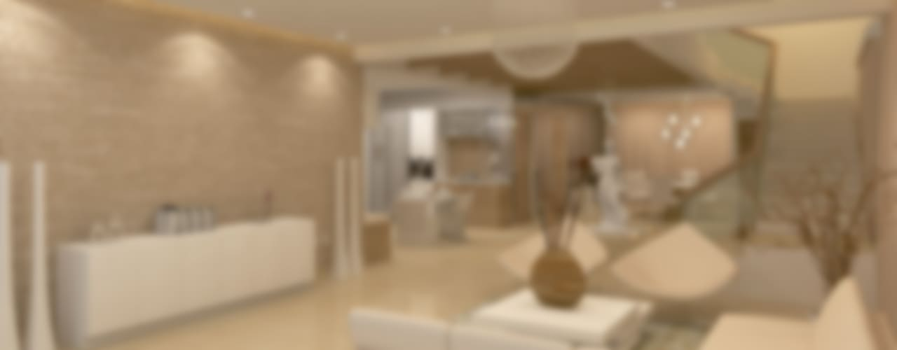 BELLEZEA, NAMBIAR BUILDERS, SARJAPUR, BANGALORE. (www.depanache.in):  Living room by De Panache  - Interior Architects