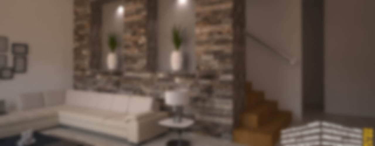 ESCALERA CON PIEDRA: Pasillos y recibidores de estilo  por HHRG ARQUITECTOS