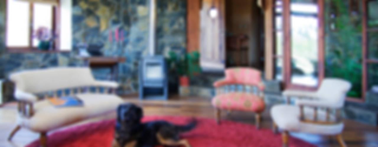 Diseño y Construcción de Casa Caracol en Paine por ALIWEN Livings de estilo rústico de ALIWEN arquitectura & construcción sustentable - Santiago Rústico