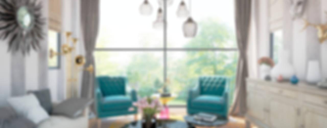 Sala de estar para músico MRamos Salones eclécticos Cobre/Bronce/Latón Turquesa