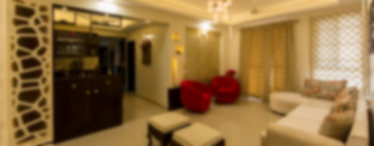 Home at Vishrantwadi Modern living room by Navmiti Designs Modern