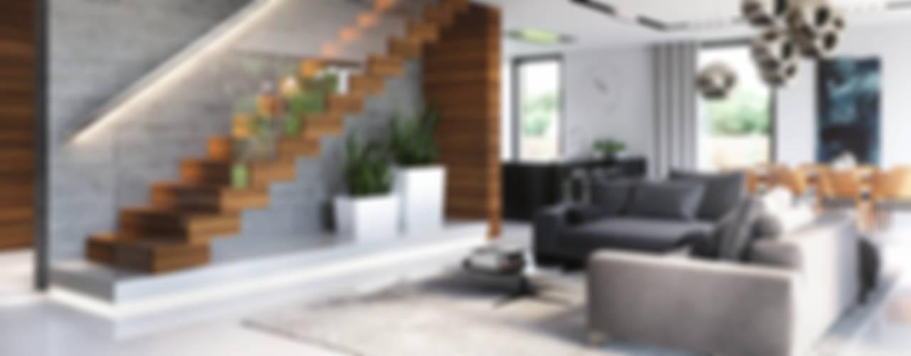 Salas de estilo  por HomeKONCEPT | Projekty Domów Nowoczesnych