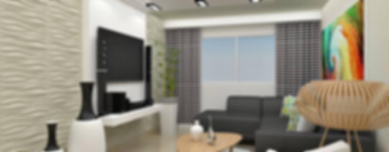 Diseño interior en apartamento : Salas / recibidores de estilo  por om-a arquitectura y diseño
