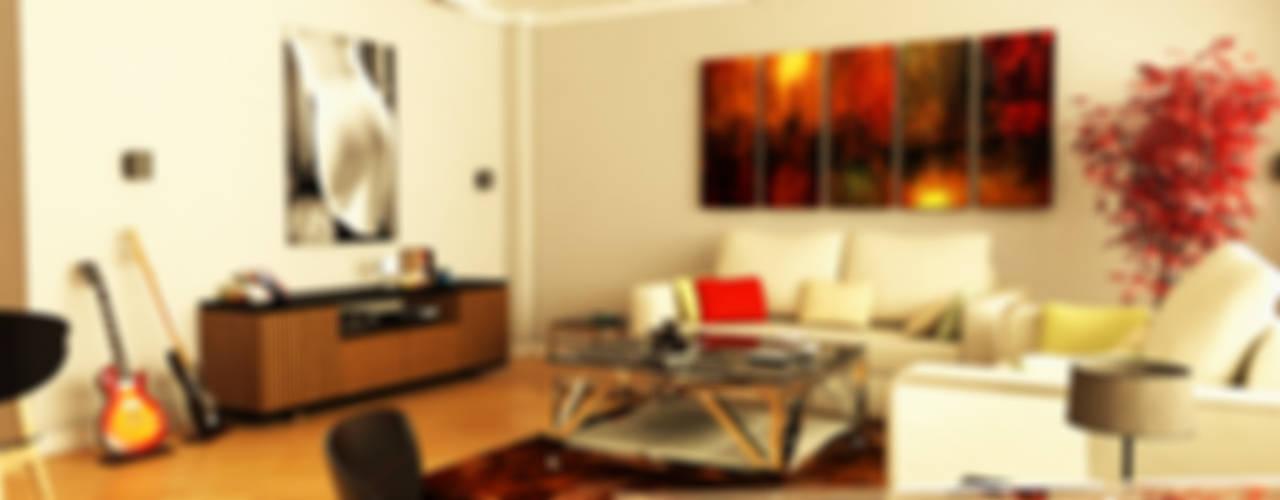İndeko İç Mimari ve Tasarım – 3D Salon Sunumu:  tarz Oturma Odası