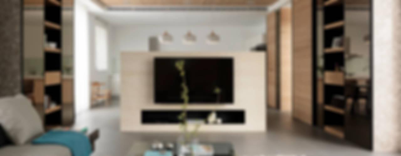 Four season house 夏沐森山設計整合 现代客厅設計點子、靈感 & 圖片