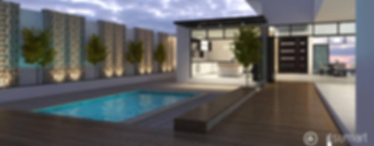 Vivienda Unifamiliar Sostenible - Arquitectura Positiva & Sumart Diseño Piscinas de estilo ecléctico de Arquitectura Positiva Ecléctico