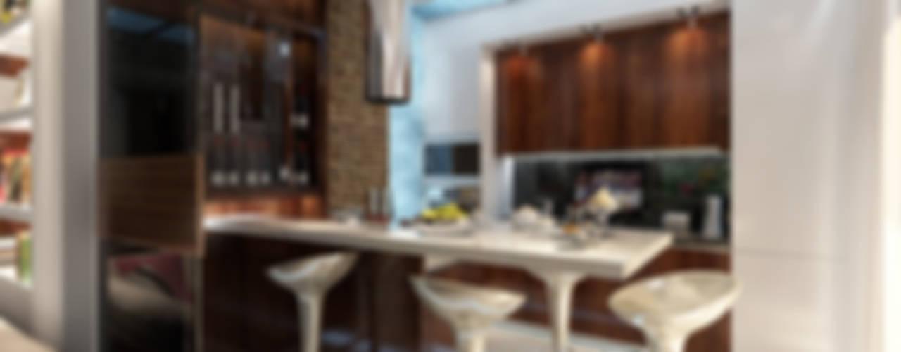 Cocinas de estilo minimalista por Студия интерьера Дениса Серова