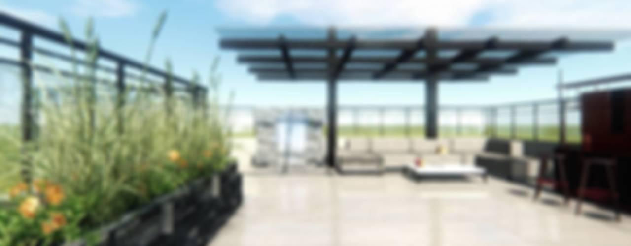 Diseno y Construccion de Terraza Lounge Bar CDMX Arqos Arquitectos Balcones y terrazas modernos Hierro/Acero Beige