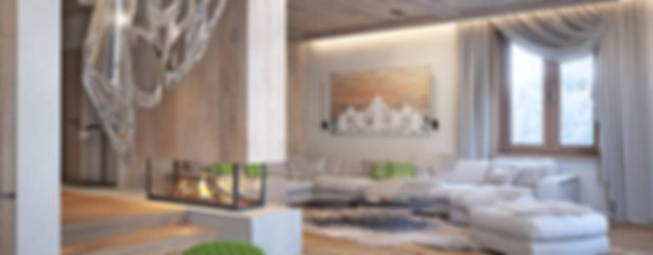 Phòng khách phong cách tối giản bởi премиум интериум Tối giản